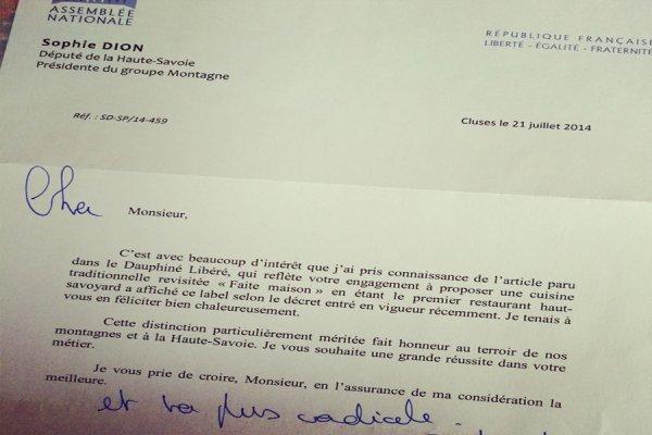 SUITE FAIT MAISON, LETTRE DU FÉLICITATION DU DEPUTE SOPHIE DION