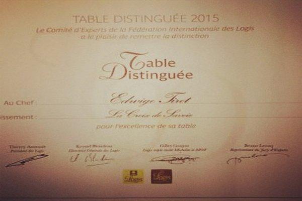 LA CROIX DE SAVOIE RÉCOMPENSE MEILLEURE TABLE D'EUROPE «TABLES DISTINGUÉES»