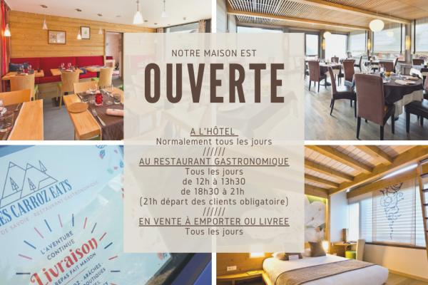 Notre maison est OUVERTE | Hôtel | Restaurant Gastronomique | Vente à emporter ou livrée